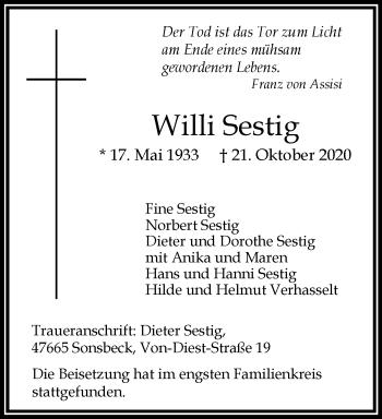 Traueranzeige von Willi Sestig von Rheinische Post