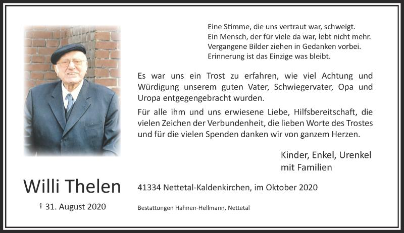 Traueranzeige für Willi Thelen vom 17.10.2020 aus Rheinische Post