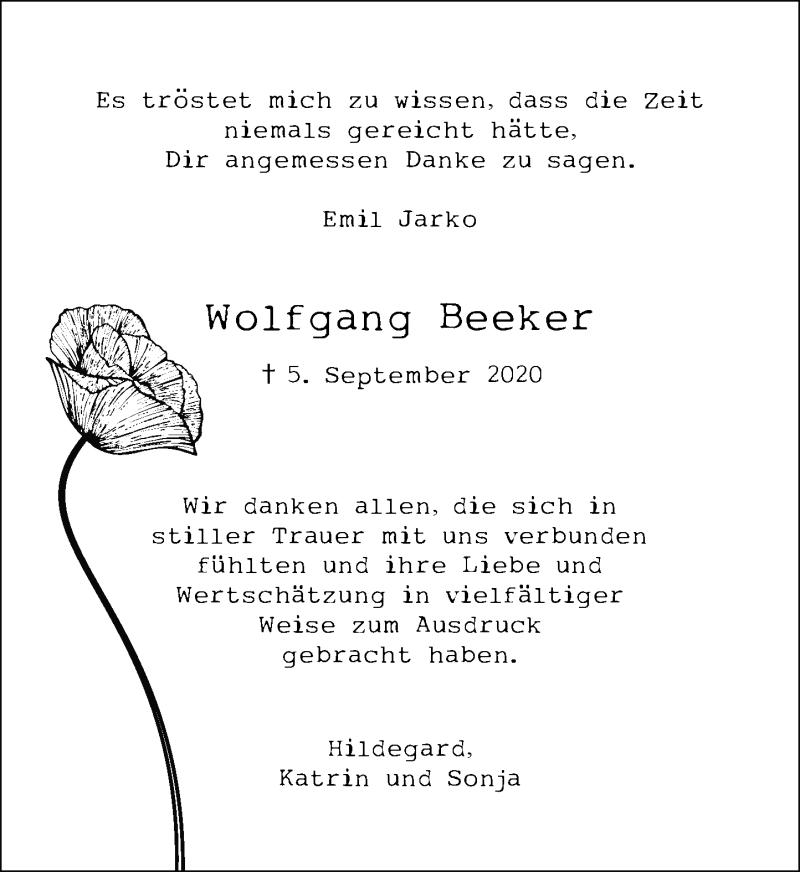 Traueranzeige für Wolfgang Beeker vom 17.10.2020 aus Rheinische Post