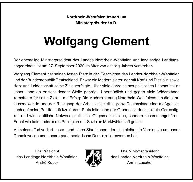 Traueranzeige für Wolfgang Clement vom 02.10.2020 aus Rheinische Post