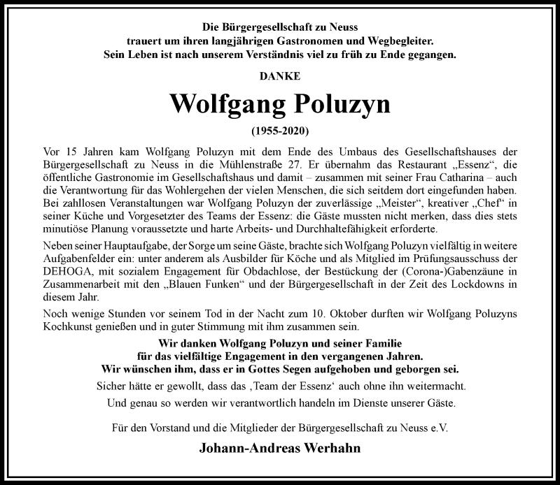 Traueranzeige für Wolfgang Poluzyn vom 17.10.2020 aus Rheinische Post