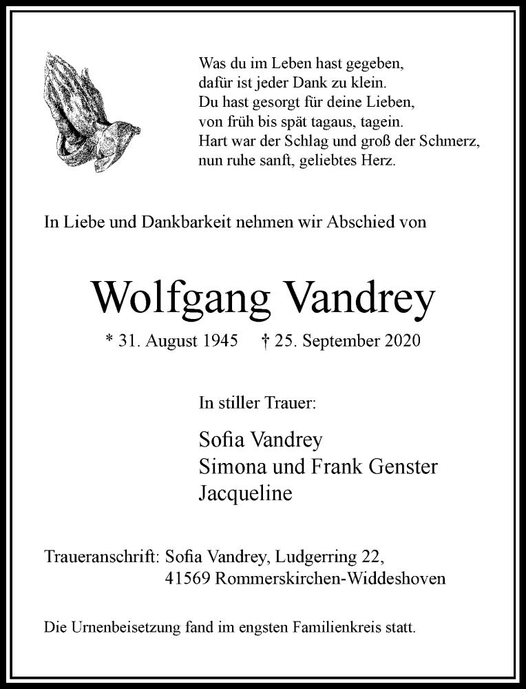 Traueranzeige für Wolfgang Vandrey vom 10.10.2020 aus Rheinische Post
