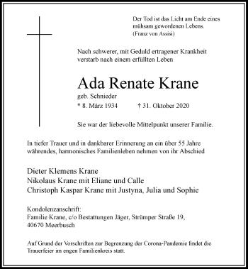 Traueranzeige von Ada Renate Krane von Rheinische Post