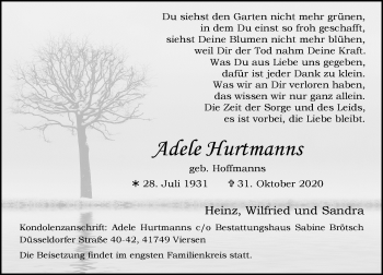 Traueranzeige von Adele Hurtmanns von Rheinische Post