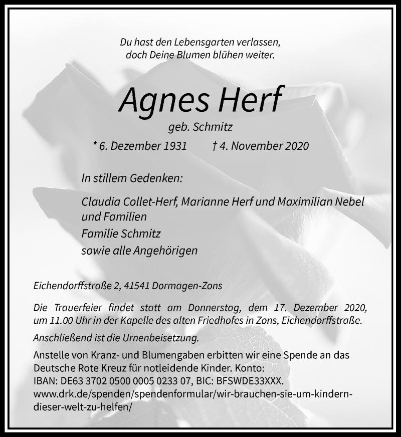 Traueranzeige für Agnes Herf vom 14.11.2020 aus Rheinische Post