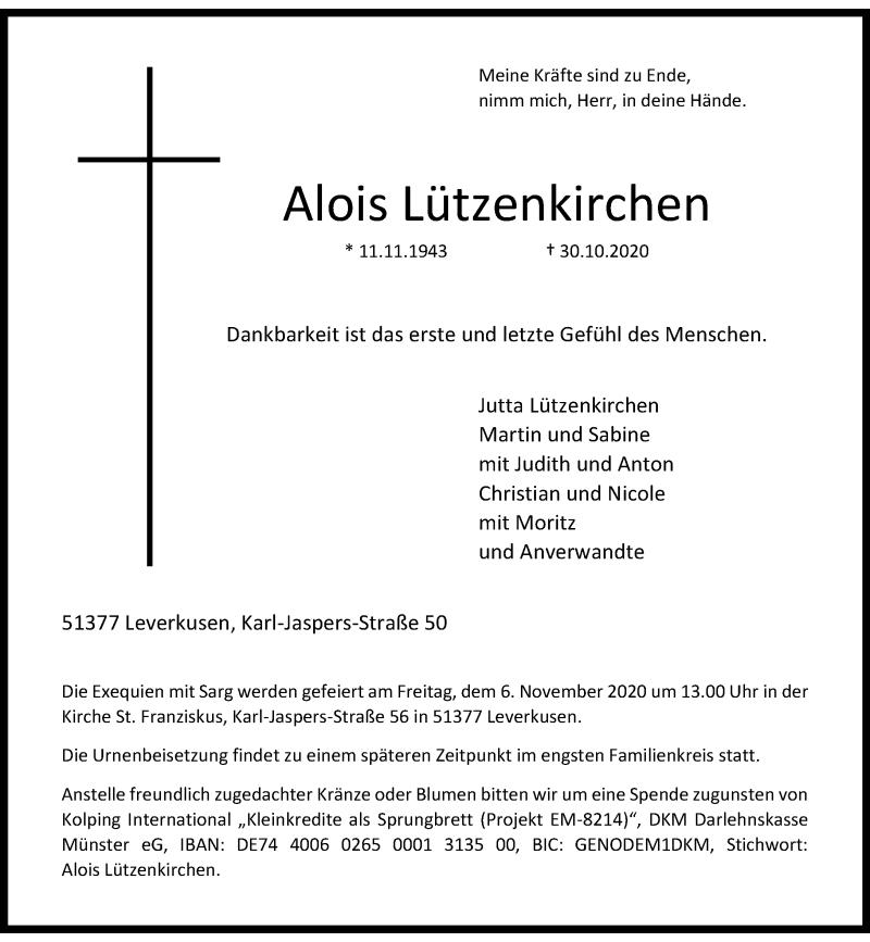 Traueranzeige für Alois Lützenkirchen vom 04.11.2020 aus Rheinische Post