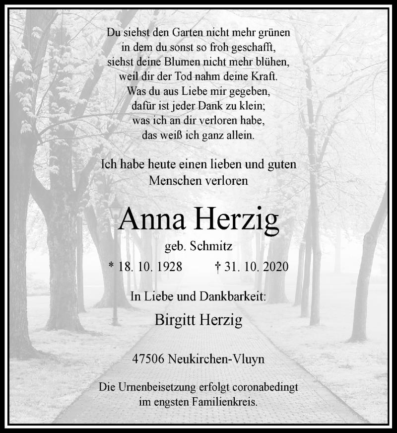 Traueranzeige für Anna Herzig vom 07.11.2020 aus Rheinische Post