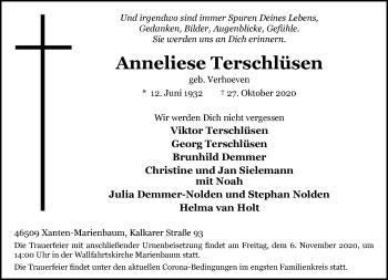 Traueranzeige von Anneliese Terschlüsen von Rheinische Post