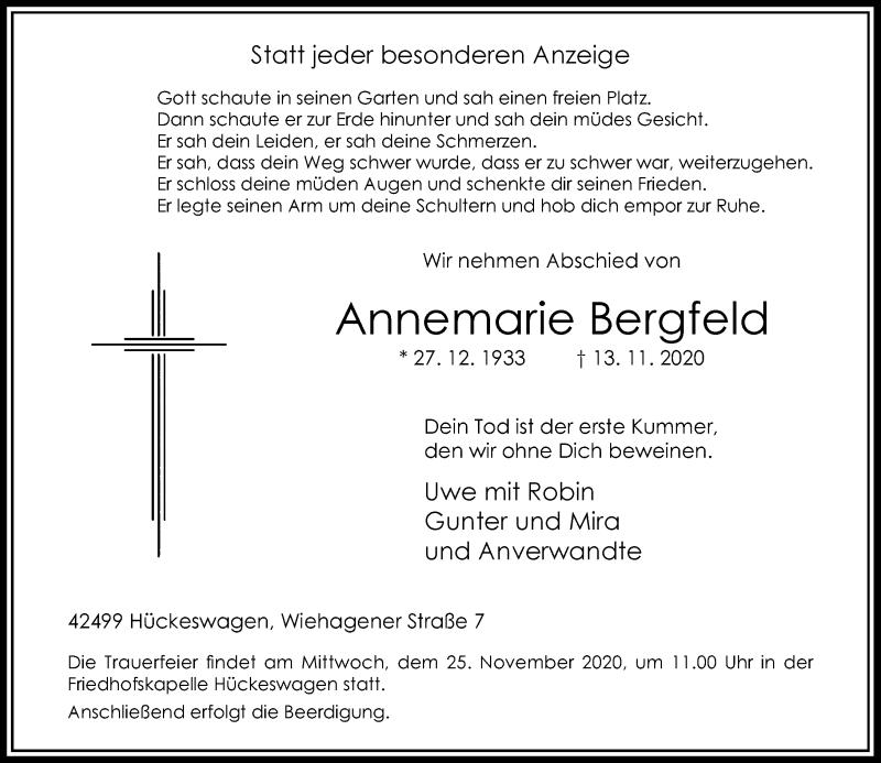 Traueranzeige für Annemarie Bergfeld vom 21.11.2020 aus Rheinische Post