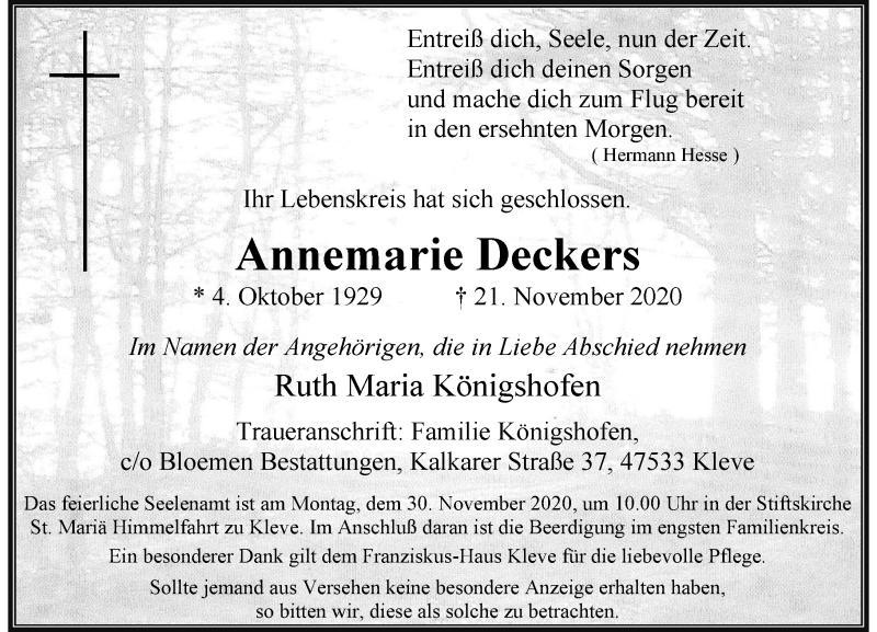 Traueranzeige für Annemarie Deckers vom 25.11.2020 aus Rheinische Post