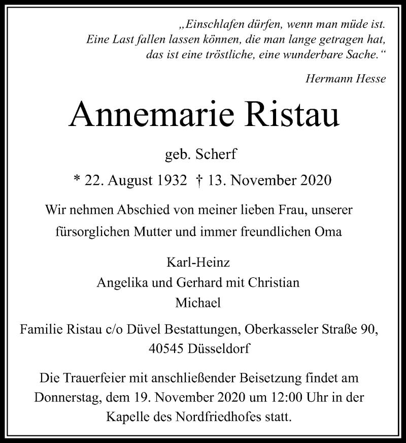 Traueranzeige für Annemarie Ristau vom 14.11.2020 aus Rheinische Post