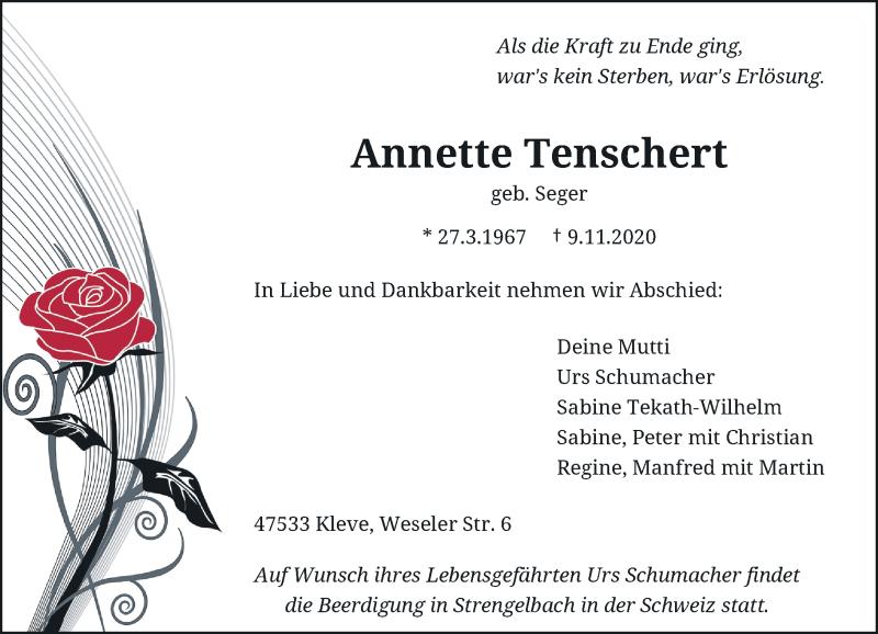 Traueranzeige für Annette Tenschert vom 14.11.2020 aus Rheinische Post