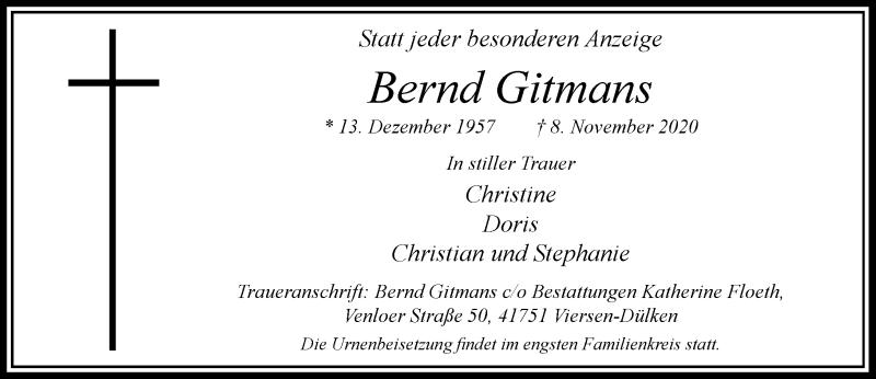 Traueranzeige für Bernd Gitmans vom 14.11.2020 aus Rheinische Post