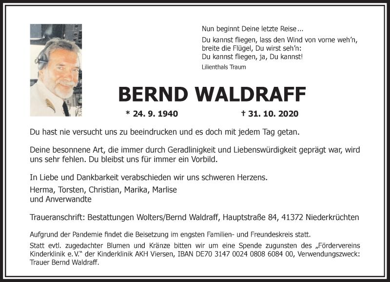 Traueranzeige für Bernd Waldraff vom 07.11.2020 aus Rheinische Post