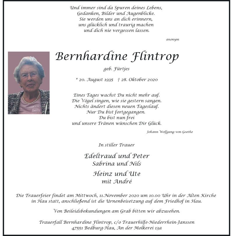 Traueranzeige für Bernhardine Flintrop vom 07.11.2020 aus Rheinische Post