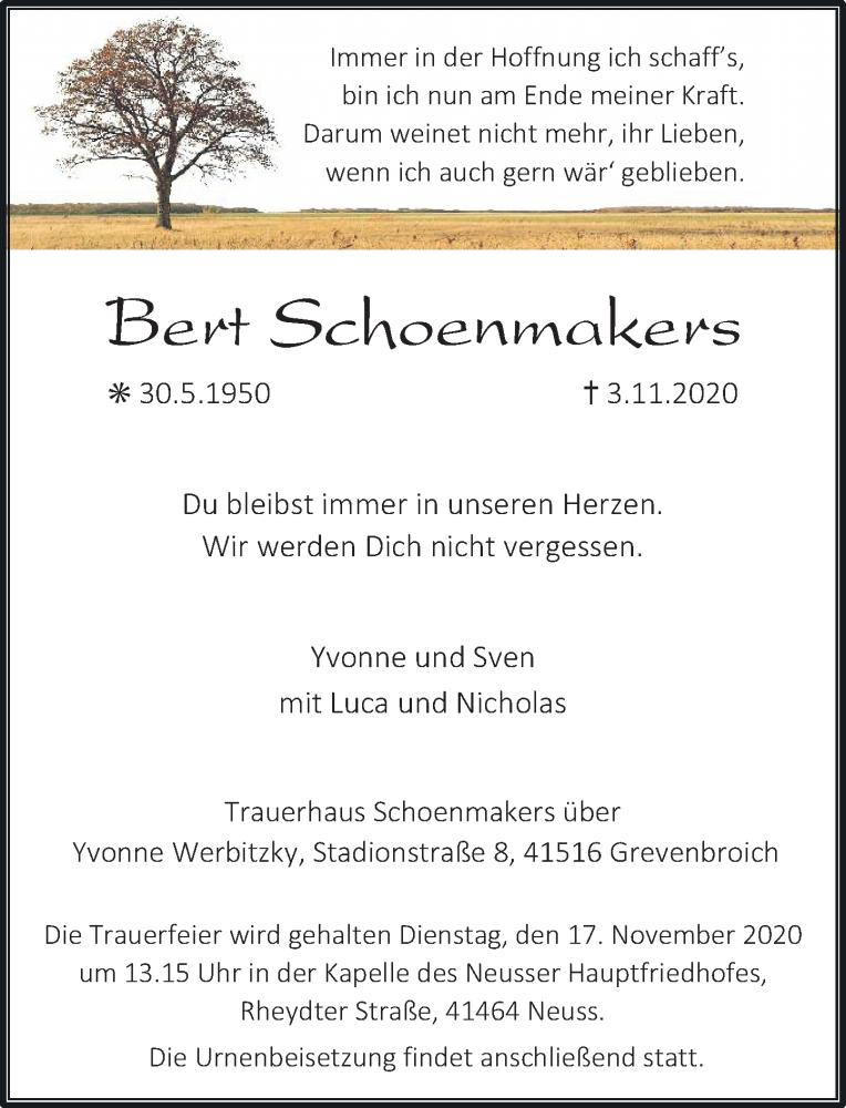 Traueranzeige für Bert Schoenmakers vom 11.11.2020 aus Rheinische Post