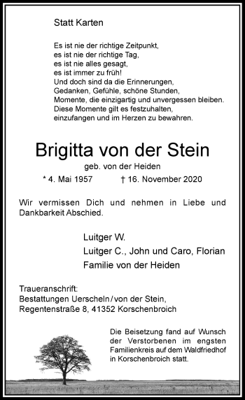 Traueranzeige von Brigitta von der Stein von Rheinische Post