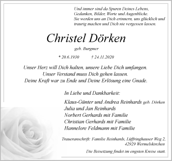 Traueranzeige von Christel Dörken von Rheinische Post