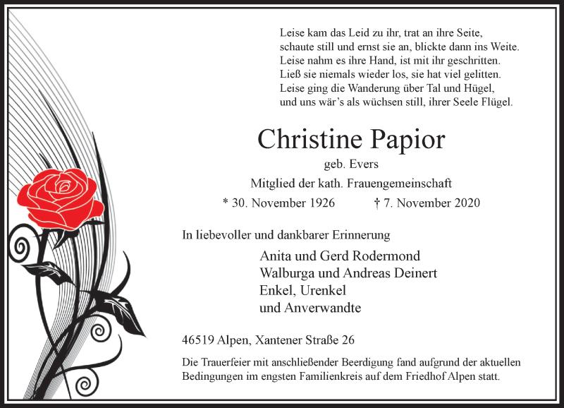 Traueranzeige für Christine Papior vom 14.11.2020 aus Rheinische Post