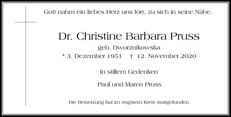 Traueranzeige für Christine Barbara Pruss vom 18.11.2020 aus Rheinische Post