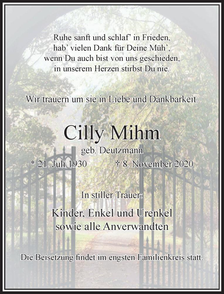 Traueranzeige für Cilly Mihm vom 14.11.2020 aus Rheinische Post