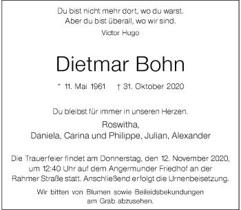 Traueranzeige von Dietmar Bohn von Rheinische Post