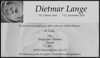 Traueranzeige von Dietmar Lange von Rheinische Post