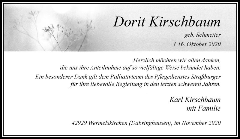 Traueranzeige für Dorit Kirschbaum vom 21.11.2020 aus Rheinische Post