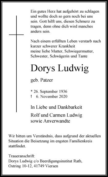 Traueranzeige von Dorys Ludwig von Rheinische Post
