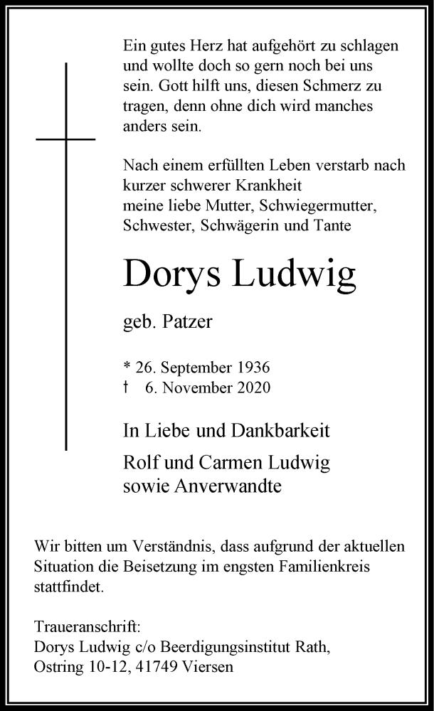 Traueranzeige für Dorys Ludwig vom 14.11.2020 aus Rheinische Post