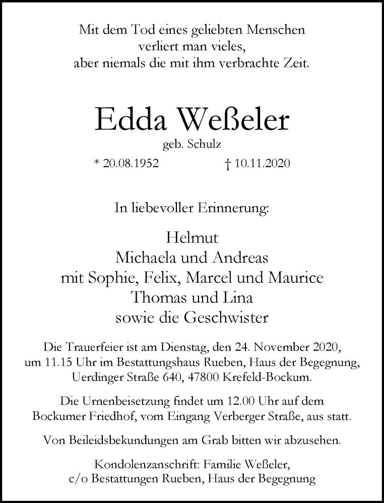 Traueranzeige für Edda Weßeler vom 14.11.2020 aus Rheinische Post