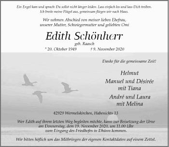 Traueranzeige von Edith Schönherr von Rheinische Post