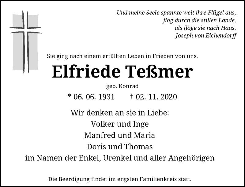 Traueranzeige für Elfriede Teßmer vom 07.11.2020 aus Rheinische Post