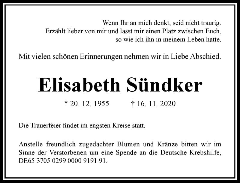Traueranzeige für Elisabeth Sündker vom 28.11.2020 aus Rheinische Post