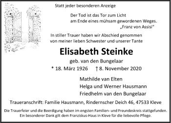 Traueranzeige von Elisabeth Steinke von Rheinische Post