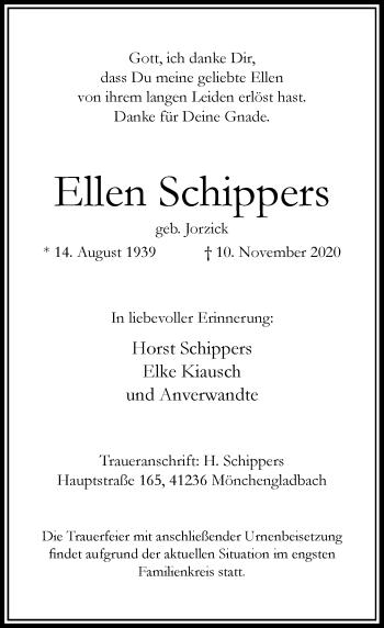 Traueranzeige von Ellen Schippers von Rheinische Post