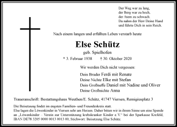 Traueranzeige von Else Schütz von Rheinische Post