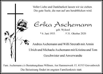 Traueranzeige von Erika Aschemann von Rheinische Post