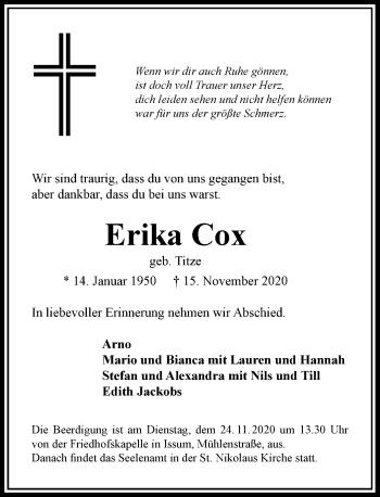 Traueranzeige von Erika Cox von Rheinische Post