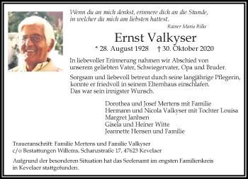 Traueranzeige von Ernst Valkyser von Rheinische Post