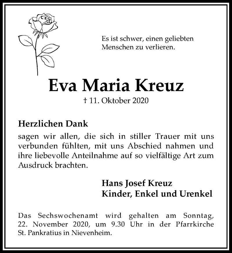 Traueranzeige für Eva Maria Kreuz vom 07.11.2020 aus Rheinische Post