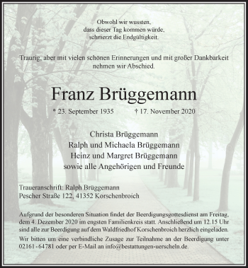 Traueranzeige von Franz Brüggemann von Rheinische Post