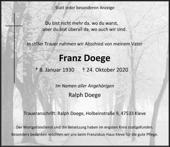 Traueranzeige von Franz Doege von Rheinische Post