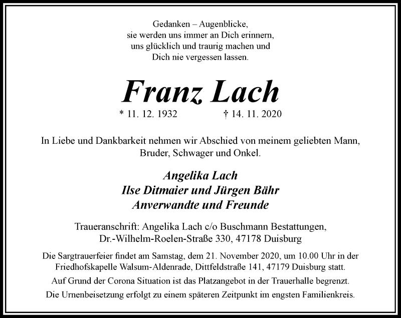 Traueranzeige für Franz Lach vom 18.11.2020 aus Rheinische Post