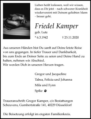 Traueranzeige von Friedel Kamper von Rheinische Post