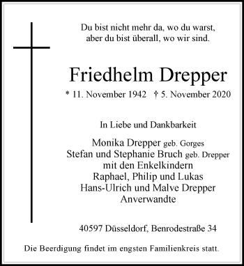 Traueranzeige von Friedhelm Drepper von Rheinische Post