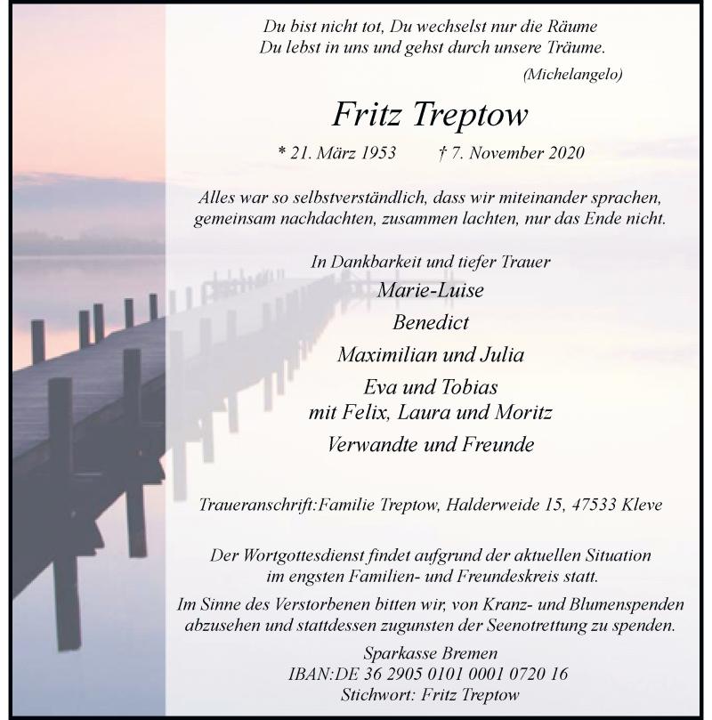 Traueranzeige für Fritz Treptow vom 14.11.2020 aus Rheinische Post