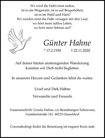 Traueranzeige von Günter Hahne von Rheinische Post