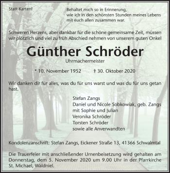 Traueranzeige von Günther Schröder von Rheinische Post