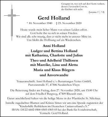 Traueranzeige von Gerd Holland von Rheinische Post